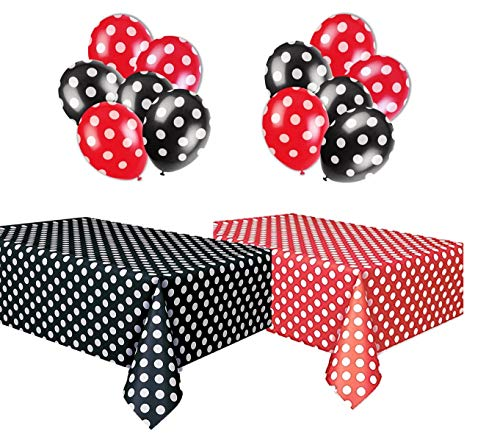 Polka Dot Party Set, Includes 1 Red Tablecloth, 1 Black Tablecloth, 6 Red Balloons And 6 Black Balloons. -