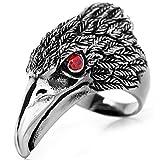 Flongo Men's Tribal Stainless Steel Red Eye Biker Eagle Hawk Band Ring, Size 10, Men's Biker Hawk Super Fly Ring, Men Women Weddding Engagement Ring