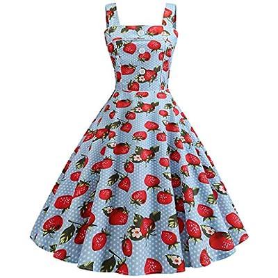 RAINED-Women Prom Swing Dress Vintage Sleeveless Strappy Printing Evening Party Bridesmaid Tea Dress