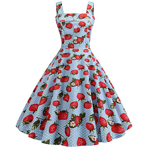 (Mysky Fashion Women Popular Vintage 1967s Sweet Cherry Print Strappy A-Line Evening Party Prom Pleated Dress)