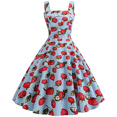 (Women's Vintage 1950s Sleeveless Sling Print Party Ball Swing Sleeveless Sling Cherry Strawberry Waist Dress)