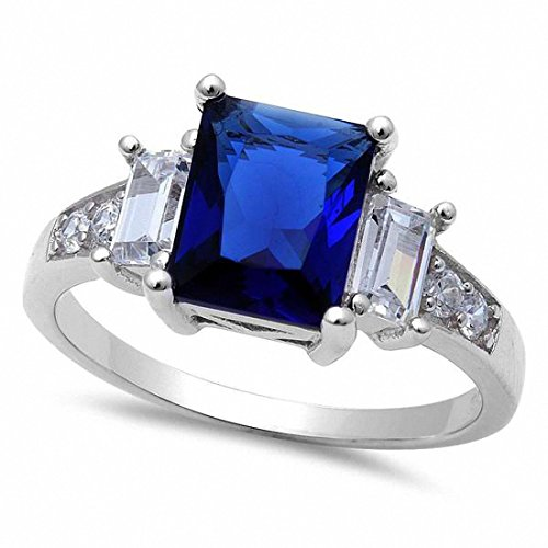 3 Stone Ring Radiant Cut Round Simulated Blue Sapphire & Cubic Zirconia 925 Sterling Silver,Size-8