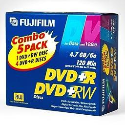 Fujifilm Combo 5 Pack DVD+R and DVD+RW