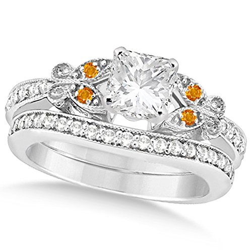 Butterfly Princess Diamond and Citrine Engagement Ring and Band Bridal Set 14k White Gold 1.00ct