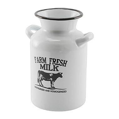 Enamel White Farm Fresh Milk Jug Decor Metal Black/White