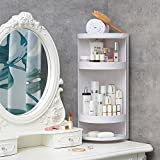 Manzelun Corner Shelves,4 Tier Storage Cabinet,360 Rotating Door Decorative Cubicle Organizer for Bathroom Countertop Bathtub Toilet Table and More,White