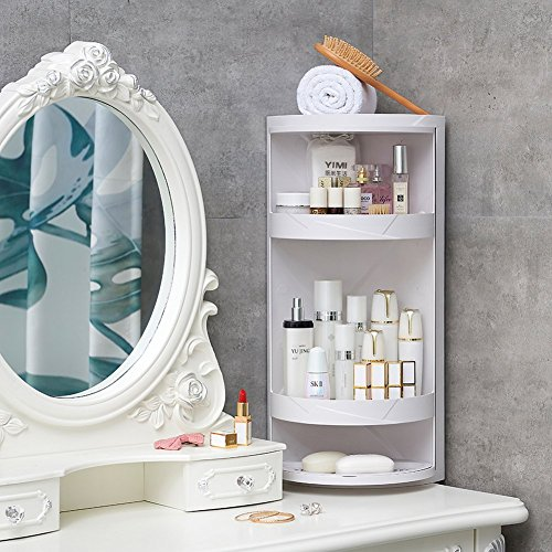 Manzelun Corner Shelves,4 Tier Storage Cabinet,360 Rotating Door Decorative Cubicle Organizer for Bathroom Countertop Bathtub Toilet Table and More,White by Manzelun