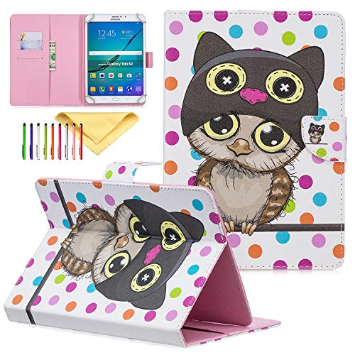 9.5-10.5 inch Universal Case, Cookk PU Leather Cover Case for iPad 9.7 Inch, Galaxy Tab A 10.1/Tab E 9.6, Cases and Covers for RCA 10 Viking, Polka Dot Owl (Samsung Galaxy Note 2 Covers Owls)