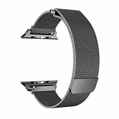 BRG for Apple Watch Band 38mm 42mm, Mesh Milanese Loop Replacement Metal iWatch Band for Apple Watch Series 3 2 1 (Space Gray, 38mm)