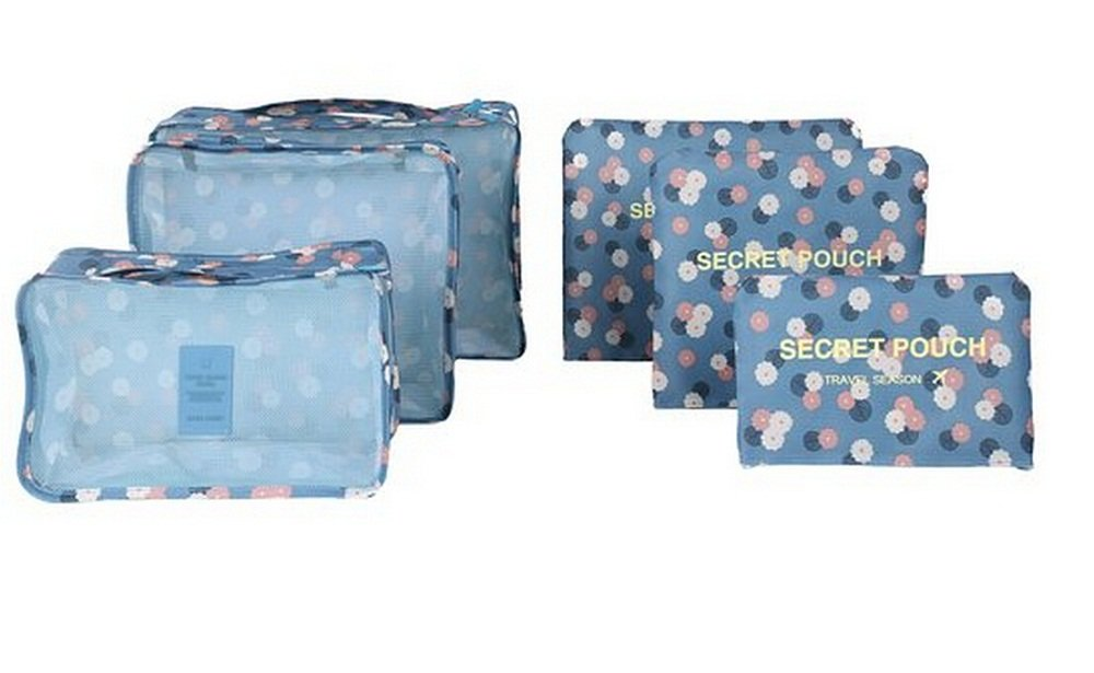 Travel Storage Bags, ABCmall 6Pcs Waterproof Clothes Packing Cube Luggage Organizer Pouch (Blue Daisy)