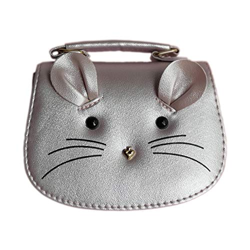 Silver Girls Handbag (CharmingBuy Girls Purse Trendy Kids Cute Mouse Toddlers Purse Crossbody Bag for Little Girls Silver)
