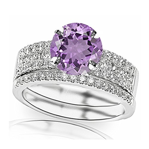 1.33 Carat t.w 14K White Gold Three Row Prong and Middle Row Channel Set Round Diamonds Engagement Ring and Wedding Band Set w/a 0.75 Carat Round Cut Purple Amethyst Heirloom Quality