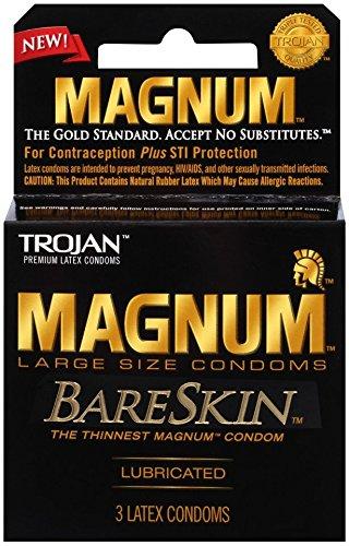 Trojan Magnum Bareskin Lubricated Condoms, 3 Count (Pack of 6)