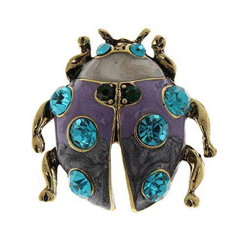 Fashion Women Rhinestone Crystal Flower Animal Bee Brooch Pin Jewelry Party Gift (Color - Blue Diamond Ladybug) (Celtic Pewter Cake)