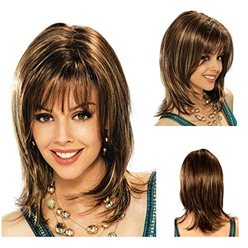 Ladies Short Bob Wig Fancy Dress Accessory Cosplay Party Wigs (Brown/16.5