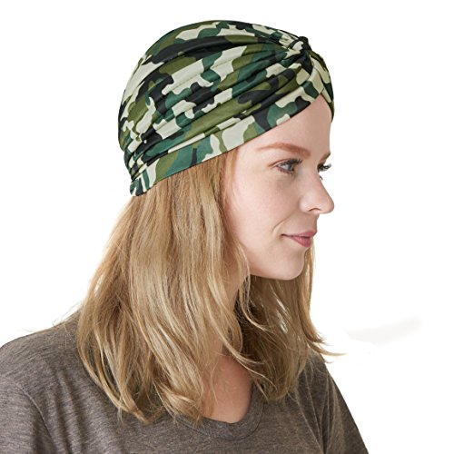 CHARM Casualbox | Twist Pleated Head Wrap Turban Bonnet Fortune Teller Hat Retro Vintage Camoflauge