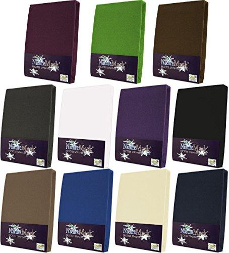 NatureMark Frottee Spannbetttuch, Spannbettlaken in allen Größen und vielen Farben (180x200 bis 200x200 cm, weiss)