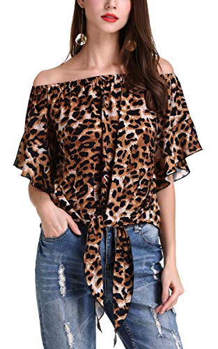 (Hibluco Women's Fashion Off Shoulder Tops Sexy Floral Print Crop Tops Brown Leopard)