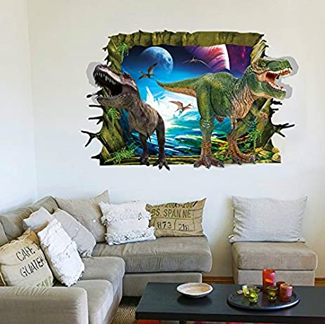RRRLJL 3D Jurassic Park Dinosaur Wall Art Decor Home Wall Decal Sticker For  Kids Children Room