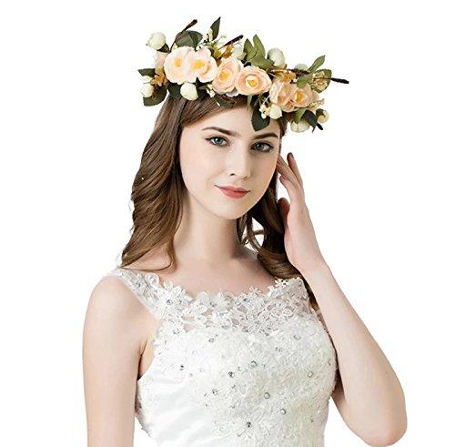 Bridal Flower Crown Wedding Ivory Headband: S2 (MCR) - Foam Open Coil