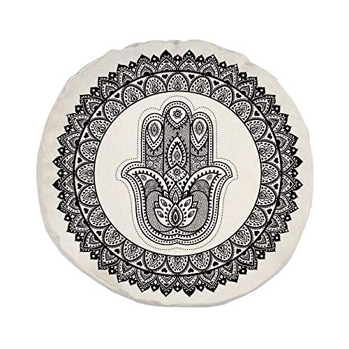 Ethnic Stylish Round Throw Pillow,Ancient Eastern Oriental Henna Hand and Mehndi Arabesque Tattoo Work of Art Print for Bedroom Living Room,Pillow Case: 17.7