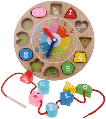 DYNWAVE キッズ木製知育玩具 - カラーシェイプ選別時計レーシングビーズゲーム