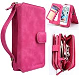 iPhone 6s Plus Wallet Case, LUMAND® Handhold Zipper Cover with DETACHABLE MAGNETIC BACK, Card pocket, Mirror (4 in 1) for iPhone 6/6s Plus (5.5 inch) - Hot Pink