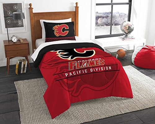 (The Northwest Company Officially Licensed NHL Calgary Flames Draft Twin Comforter and Sham Set,)