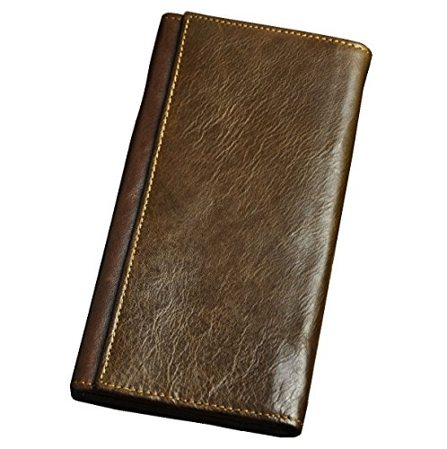 Le'aokuu Mens Genuine Cray Horse Leather Cowhide Trifold Organizal Large Capacity Checkbook Card Case Wallet Purse (Brown-Without (Tigers Tri Fold Leather)