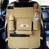 BININBOX Car Backseat Organizer PU Pocket Protector Kick Mat Auto For Baby Kids Travel Accessories Toy Bottle Storage (Beige)