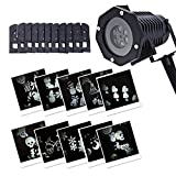 LightMe Outdoor Waterproof LED Projection Light Snowflake Lamp, Auto Moving Spotlights with 10PCS Switchable Pattern Cards for Christmas, Landscape, Party, Home Decor, etc. (White Light)