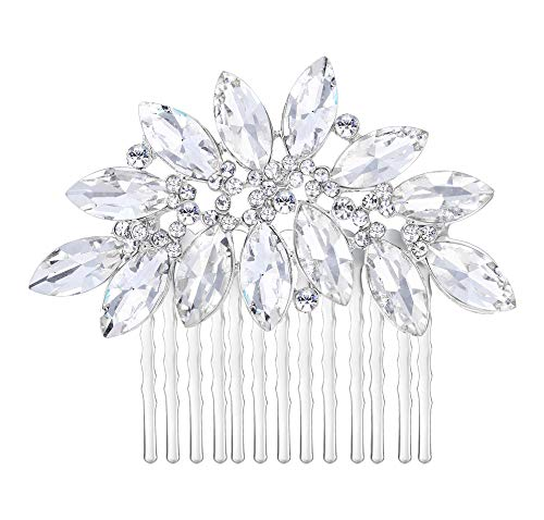 EVER FAITH Bridal Silver-Tone Lots Marquise-Shape Clear Austrian Crystal Hair Comb