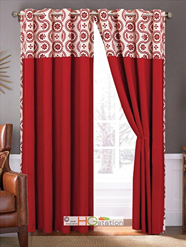 4-Pc Floral Circles Dots Metal Grommet Curtain Set Red Ivory Valance Drape Sheer Liner (Valance Dot Circle)