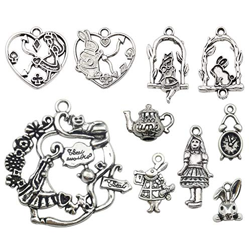 Youdiyla 48pcs Alice in Wonderland Fairy Charms Collection, Alice Girl Princess Rabbit Teapot Clock Metal Charm Pendants (Silver HM186) ()