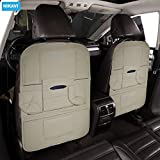 Nikavi Car Back Seat Organizer - Universal Fit Back Seat Storage Cover, PU Leather Back Seat Organizer Kiks Mats for Toys, Bottles, Mobiles 22 x 19 Inch (Beige) Pack of 1