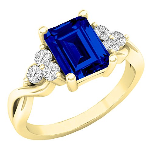Dazzlingrock Collection 10K 8X6 MM Lab Created Blue Sapphire & White Sapphire Engagement Ring, Yellow Gold, Size 4