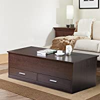 go2buy Modern Storage Box Coffee Tables with Slide Trunk Top & Drawers, Living Room Center Table, Espresso