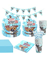 NEI Shark Party Birthday Supplies Disposable Tableware Set, Pirate Shark Plates and Banner, Perfect for Baby Shower, Birthday Party Serves 10 Guests