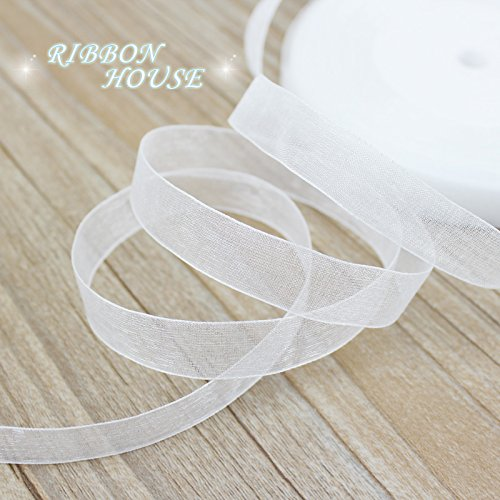 FunnyPicker (50 Yards/Roll)1/2''(12Mm) Organza Ribbons Wholesale White Gift Wrapping Decoration Christmas Ribbons