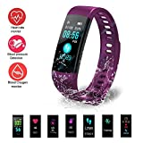 Hinmay Fitness Tracker HR, Activity Tracker with Heart Rate Monitor Watch, IP67 Waterproof Smart Wristband with Calorie Counter Watch Pedometer Sleep Monitor for Kids Women Men(Purple)