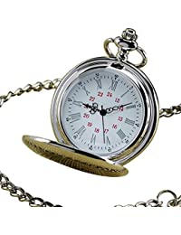 Mens Mirror Round Roman numeral Dial Vintage Quartz Analog Pocket Watch