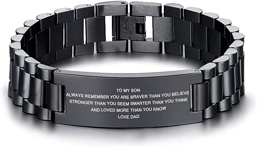 XUANPAI to My Son Never Forget That I Love You Boys Courage Inspiration Gift Love Dad Love Mom Men Bracelets Wristband