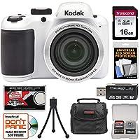 KODAK PIXPRO AZ401 Astro Zoom Digital Camera (White) with 16GB Card + Case + Tripod + + Kit