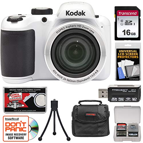KODAK PIXPRO AZ401 Astro Zoom Digital Camera (White) with 16GB Card + Case + Tripod + + Kit