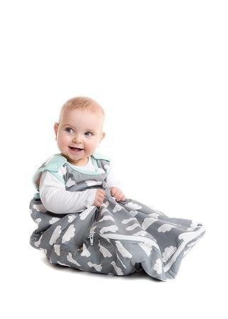 Saco de dormir para bebés de 6 a 18 meses, de la marca Babasac. Diseño de nubes, color gris y turquesa: Amazon.es: Bebé