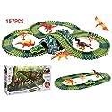 Lingxuinfo 157ピース 恐竜玩具 スロット 車 レース トラックセット 恐竜 ワールド レース トラック プレイセット 5 恐竜