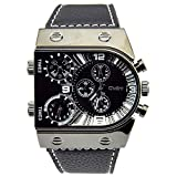 IE-LY® Military Army Vogue Oversized Sports Mens Wrist Watch Black Leather Band