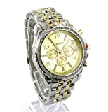 Geneva Unisex CZ Two-Tone Accented Link Watch-Gold, Watch Central