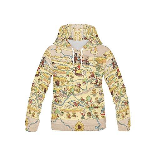 LumosSports Vintage 1935 Kansas State Map Kid's 3D Printed Pullover Hooded Sweatshirt