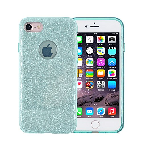 Glitter iPhone 7 Case, FACEVER Crystal Bling Design Soft Silicone + Hard Plastic Full Side Protection Case Cover For Apple iPhone 7 4.7 inch (Light green)